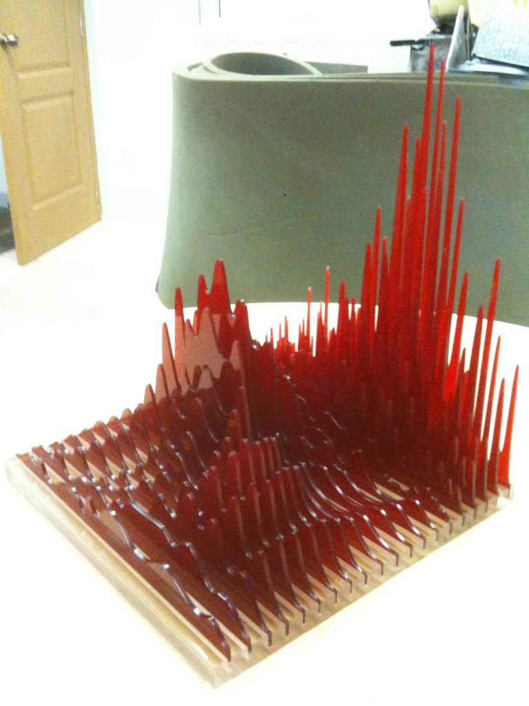Acrylic laser cut sculture: The Materialisation of sound