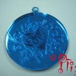 Fashion jewelry in laser cut blue mirror acrylic