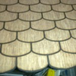 plywood laser marked to simulate roof tiles, details