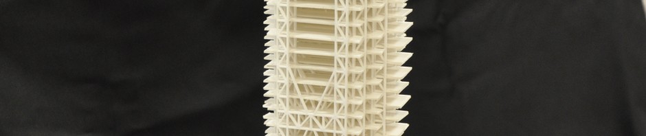 Fully assembled scale model of building, laser cut